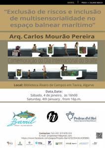 Cartaz da conferência Exclusão de riscos e inclusão da multisensorialidade no espaço balnear marítimo